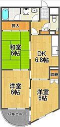 ルートマンション 4階3DKの間取り