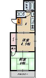 大阪府大阪市旭区高殿4丁目の賃貸マンションの間取り