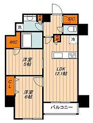 クレストコート志村坂上 8階2LDKの間取り