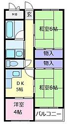 シャトー大美野[3階]の間取り