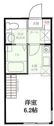 ハーミットクラブハウス石川町 KANAテラス2 2階ワンルームの間取り