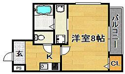 阪急千里線 下新庄駅 徒歩2分の賃貸アパート 1階1Kの間取り