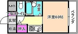 大阪府枚方市長尾元町7丁目の賃貸マンションの間取り