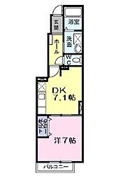 シーカンII 1階1DKの間取り