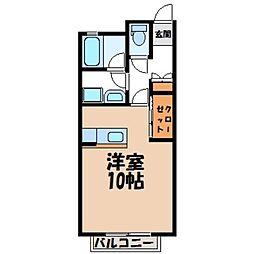 栃木県宇都宮市清原台1丁目の賃貸アパートの間取り