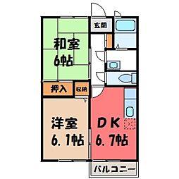 栃木県下野市小金井4の賃貸アパートの間取り