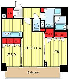 ORME COURT NIPPORI EAST 7階2LDKの間取り