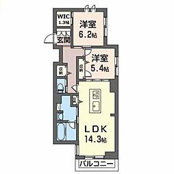 シェーナーヴァルト錦町 2階2LDKの間取り