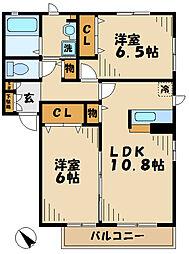 神奈川県海老名市門沢橋3丁目の賃貸アパートの間取り