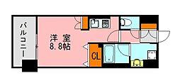 西鉄天神大牟田線 西鉄平尾駅 徒歩13分の賃貸マンション 2階ワンルームの間取り