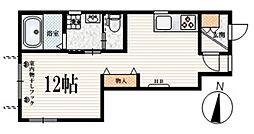 JR山手線 高田馬場駅 徒歩11分の賃貸マンション 1階ワンルームの間取り