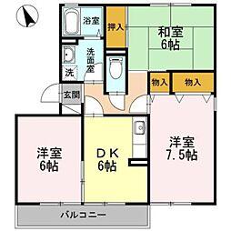 福岡県久留米市東櫛原町の賃貸アパートの間取り