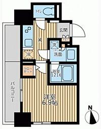 エミリブ鷺ノ宮 5階1Kの間取り