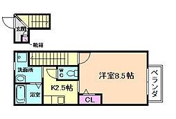 大阪府豊中市庄内栄町3丁目の賃貸アパートの間取り