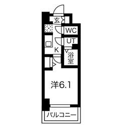 スプランディッド天王寺DUE 9階1Kの間取り
