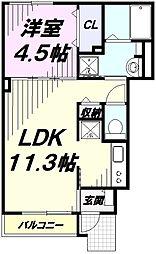 JR南武線 谷保駅 徒歩3分の賃貸アパート 1階1LDKの間取り