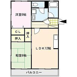 コーポ清風台[1階]の間取り