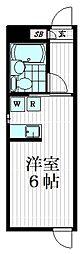 JASPER Nishiochiai 2階ワンルームの間取り