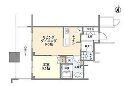 パークコート文京小石川ザ タワー 25階1LDKの間取り