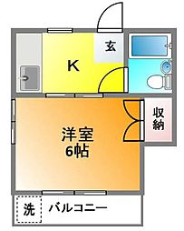 ハウスアオヤマ[202号室]の間取り