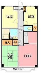 神奈川県平塚市東真土2丁目の賃貸アパートの間取り
