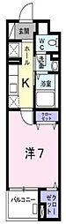 京王線 北野駅 徒歩5分の賃貸マンション 1階1Kの間取り