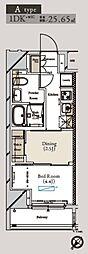 都営大江戸線 月島駅 徒歩1分の賃貸マンション 9階1DKの間取り