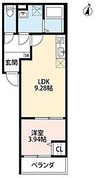 Sハウス北野田 2階1LDKの間取り
