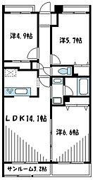 小田急小田原線 町田駅 バス15分 ひなた村下車 徒歩6分の賃貸マンション 3階3LDKの間取り