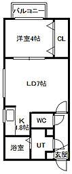 カリン南3条[4階]の間取り