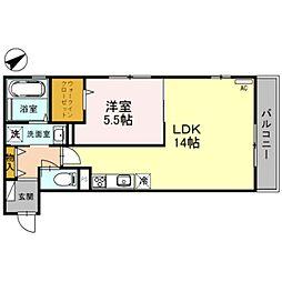 渚ハウス 2階1LDKの間取り