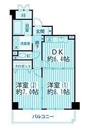 神奈川県横浜市神奈川区羽沢町の賃貸マンションの間取り
