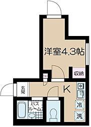 フェリーチェ中野坂上E 3階1Kの間取り