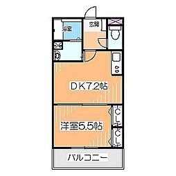 シャーメゾン北花田 1階1DKの間取り