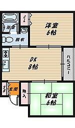 大阪府大阪市城東区今福西2丁目の賃貸マンションの間取り