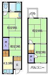 [テラスハウス] 大阪府松原市天美西1丁目 の賃貸【/】の間取り