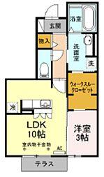 JR御殿場線 御殿場駅 徒歩23分の賃貸アパート 1階1LDKの間取り