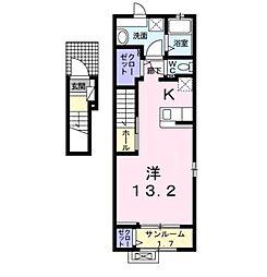 バーミィ・フィオーレ 2階ワンルームの間取り