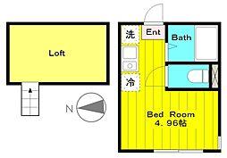 JR南武線 中野島駅 徒歩13分の賃貸アパート 2階ワンルームの間取り
