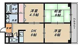 大阪府堺市北区奥本町1丁の賃貸マンションの間取り