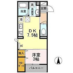 セジュールオッツM 2階1DKの間取り