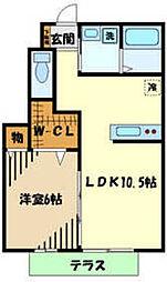 JR五日市線 武蔵五日市駅 徒歩11分の賃貸アパート 1階1LDKの間取り