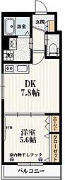 仮称)本町5丁目メゾン 3階1DKの間取り