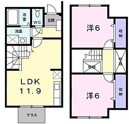 愛知県豊田市陣中町1丁目の賃貸アパートの間取り