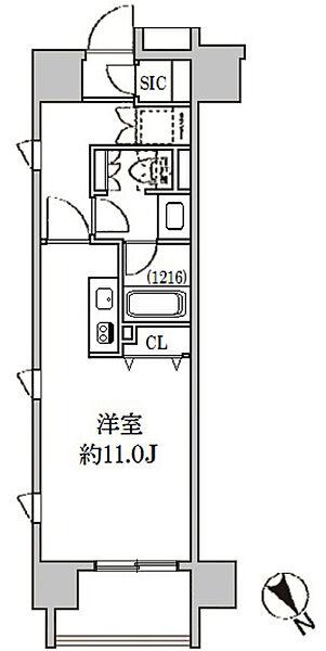 クリオ五反田[1106号室]の間取り