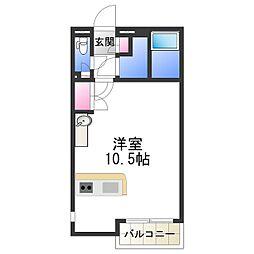 レオネクストケイスピリット桜坂 2階ワンルームの間取り