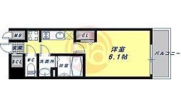 JR大阪環状線 鶴橋駅 徒歩5分の賃貸マンション 5階1Kの間取り