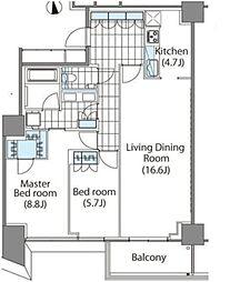 コンフォリア新宿イーストサイドタワー タワー棟 5階2LDKの間取り