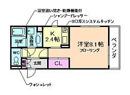 国際文化公園都市モノレール 豊川駅 徒歩16分の賃貸アパート 1階1Kの間取り
