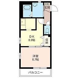 JR京浜東北・根岸線 川口駅 徒歩15分の賃貸マンション 2階1DKの間取り
